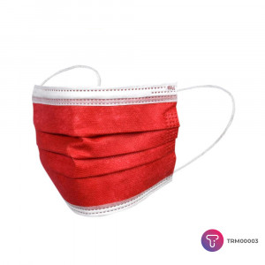 Kırmızı 3 Katlı Meltblown Telli Cerrahi Maske
